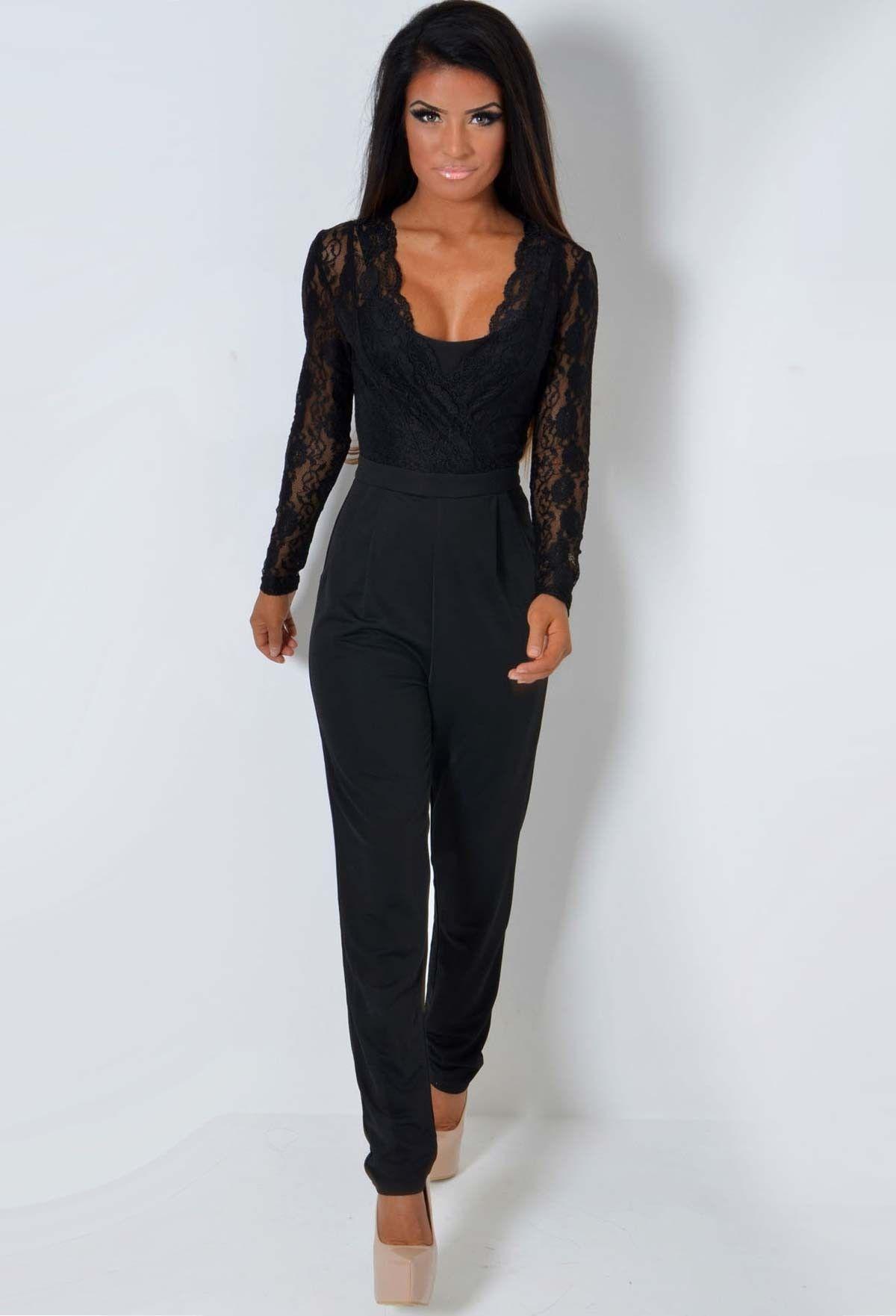 1c57f97001 Maita Black Lace Plunge Wrap Long Sleeve Jumpsuit - 8 | Mine ...