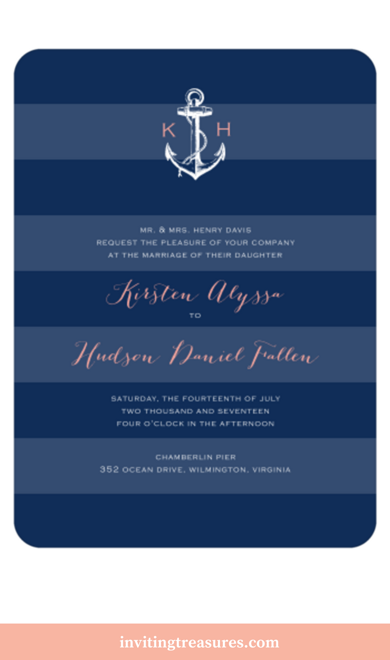 beach wedding invitation examples%0A Beach Wedding Invitation Ideas   Summer Wedding Invitations   Navy and  Coral Wedding Invitations   Nautical