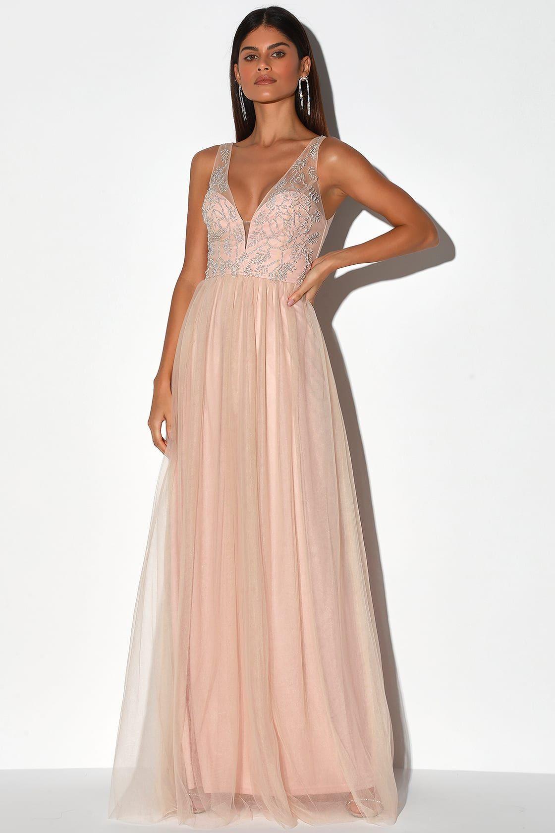 blush long sleeve maxi dress