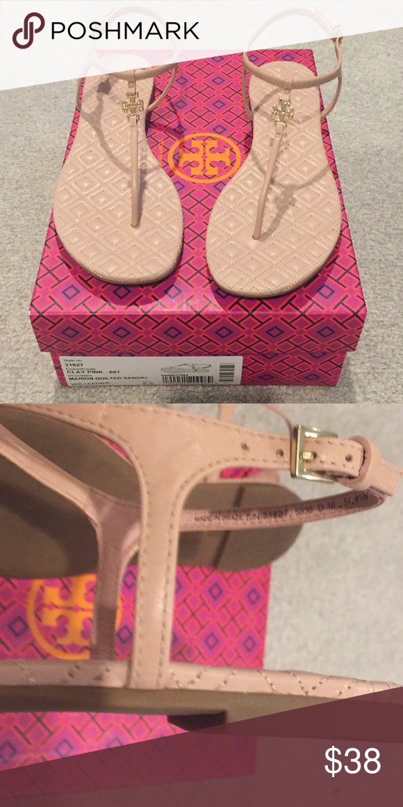 85024dc2170da Tory Burch blush summer sandals Ladies Clay Pink Marion Quilted Sandal in  Veg Leather. Only worn once. Great condition Smoke and pet free home.