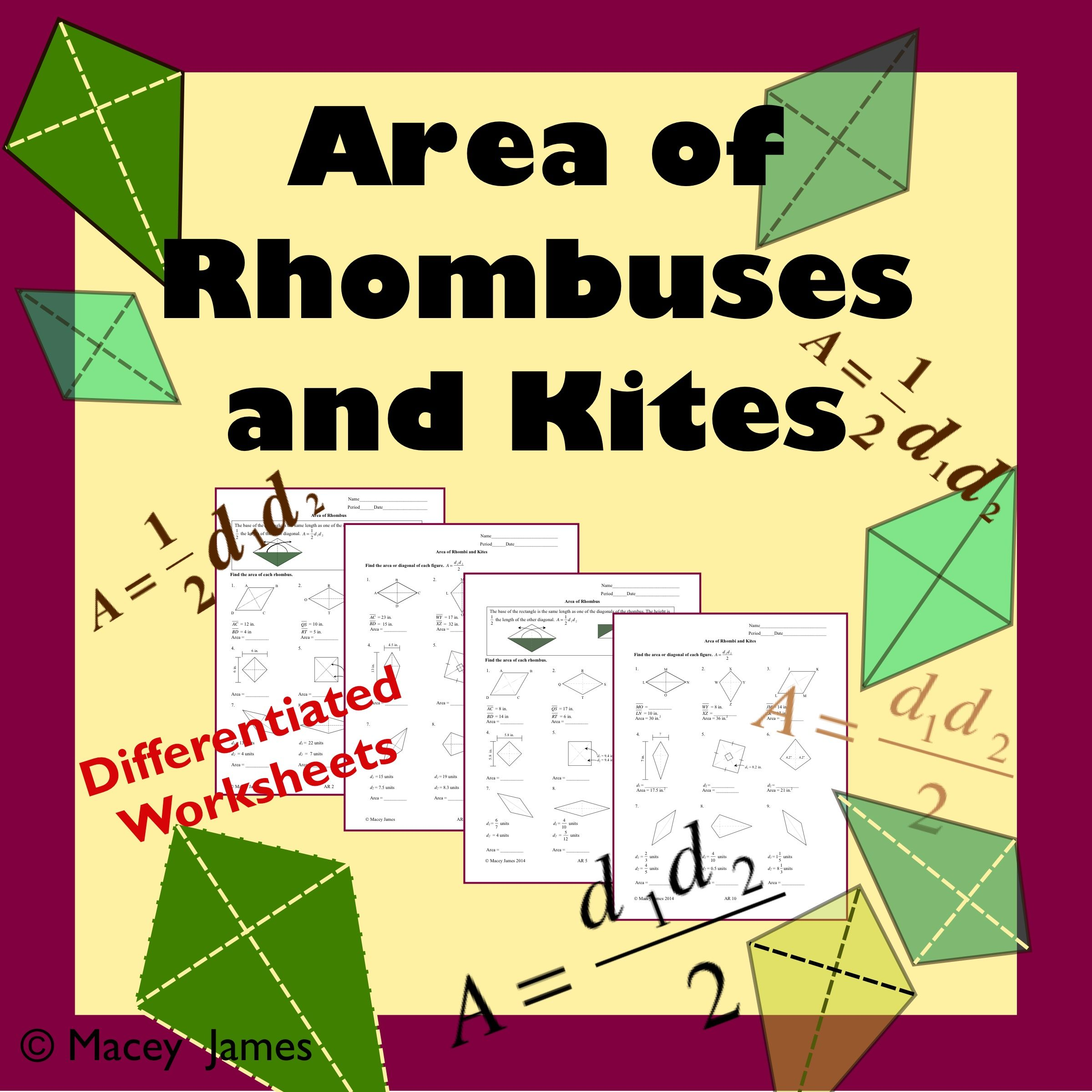 Area Of Rhombus And Kite Middle School Math Resources Rhombus Triangle Worksheet