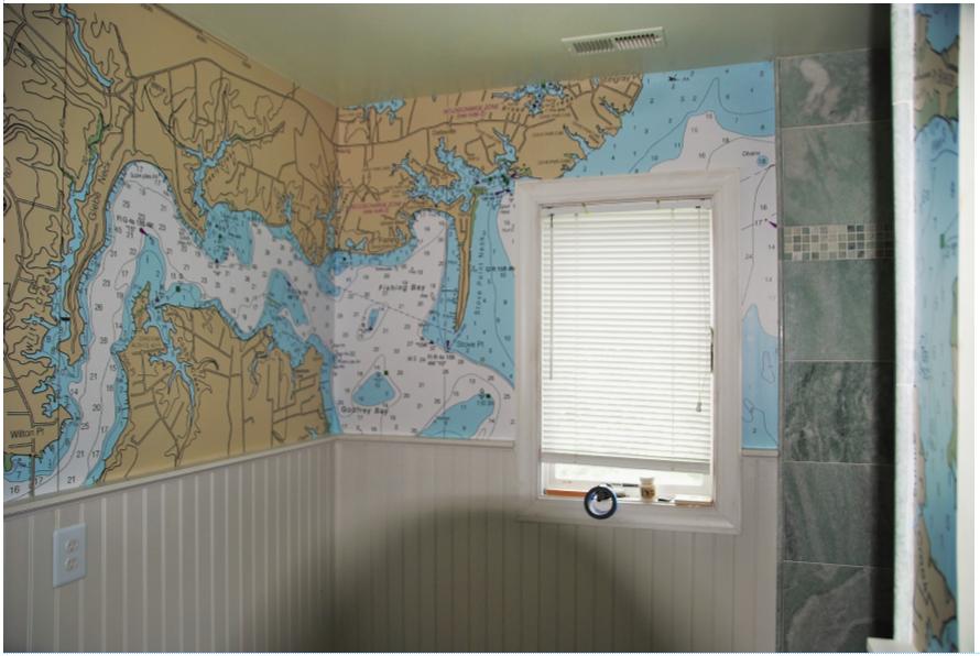 A River Runs Through It Nautical Chart Wallpaper Nautical Chart Beach House Bathroom Mural Design
