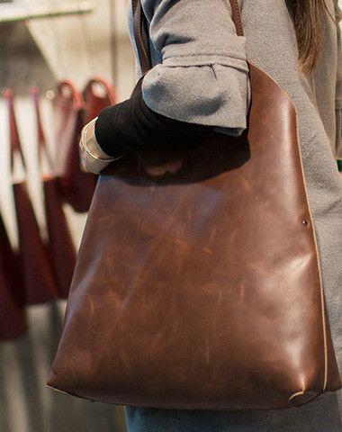 c20947d5b6 Handmade Leather vintage Big Large tote bag coffee brown for women leather  shoulder bag