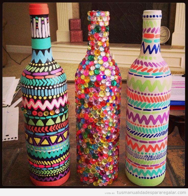 Manualidades para regalar botellas decoradas Botellas decoradas