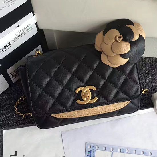 46a18c6b707782 Chanel Calfskin Camellia Waist Bag Black A91830 | Chanel Shoulder ...