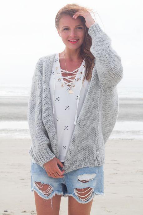Gilet gris pailleté femme veste gilet laine | Arts4a