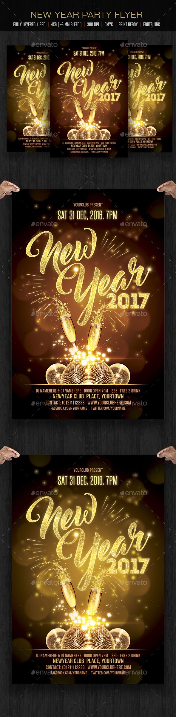 New Year Party Flyer Design Template  Clubs  Parties Events