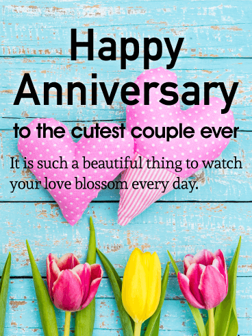 To The Cutest Couple Happy Anniversary Card Birthday Greeting Cards By Davia Happy Anniversary Cards Happy Wedding Anniversary Wishes Happy Anniversary Wishes
