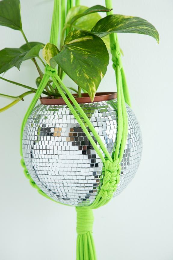 Photo of Mirror Ball Planter & Macrame Hanger