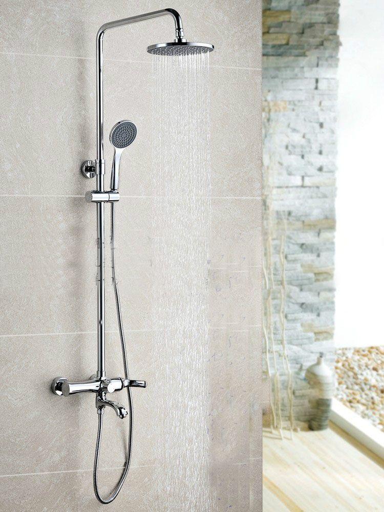 Wall Mounted Chrome Finished Rain Brass Bathroom Shower Set Shower Column Bath Shower Set With Abs Handhe Chrome Shower Fixtures Shower Columns Bathroom Shower