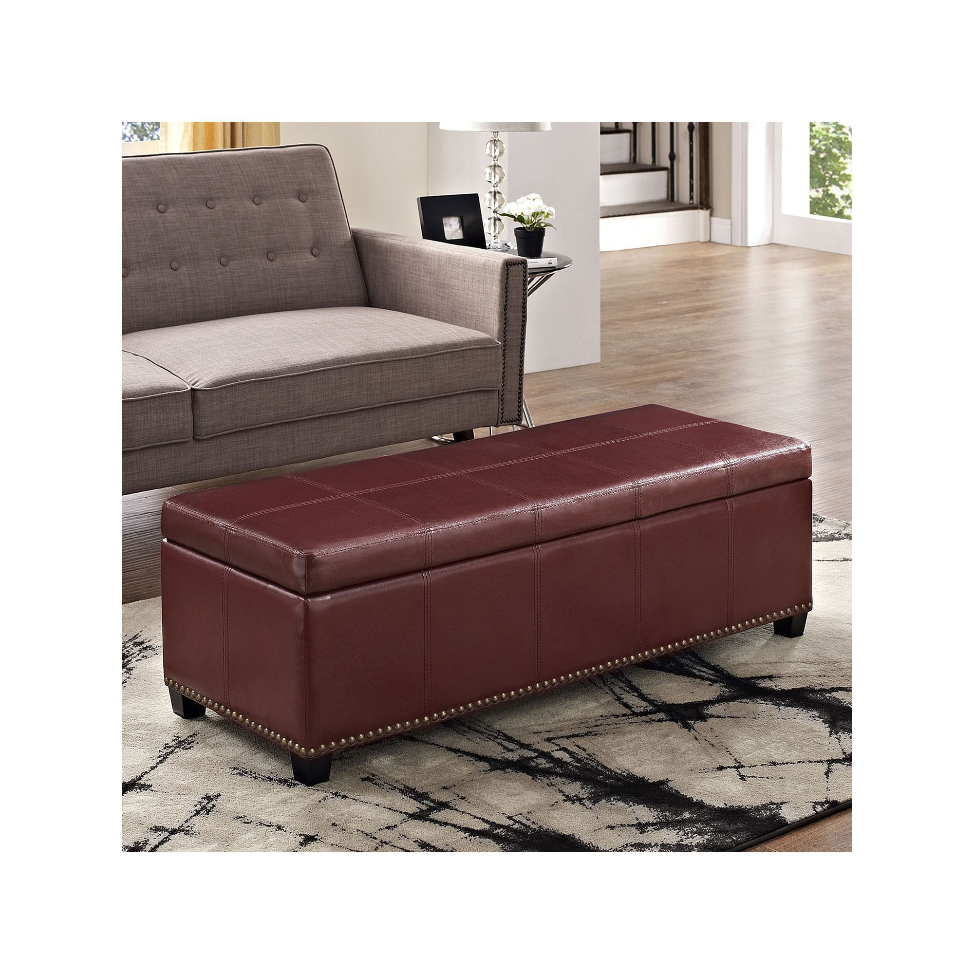Simpli Home Kingsley Rectangular Storage Ottoman Bench, Red