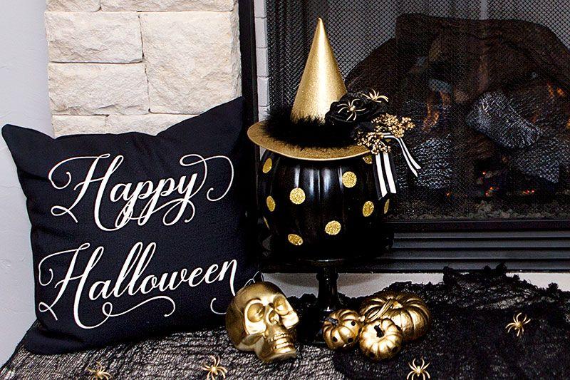 Easy Diy Black And Gold Pumpkin Decor Halloween Pumpkin Decor