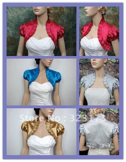 Burgundy Royal Blue Silver Gold Short Sleeve Satin Wedding Bridal ...
