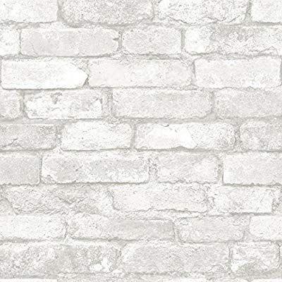 Nuwallpaper Nu1653 Grey And White Brick Peel Stick Wallpaper Amazon Com Brick Effect Wallpaper Removable Brick Wallpaper White Brick