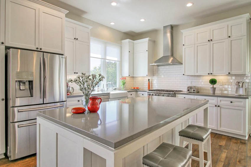 Kitchen Countertop Ideas with White Cabinets | White ...
