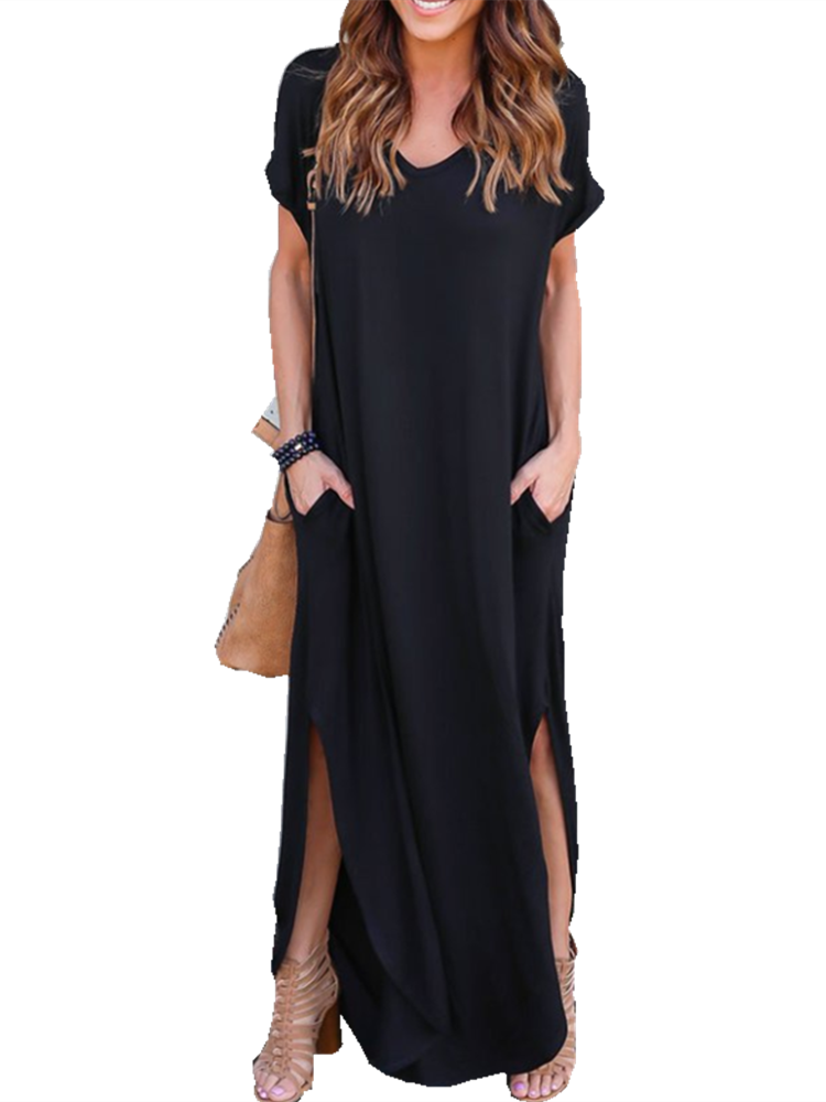 543ae8cc935 V-neck Loose Casual Women s Long Dress with Pocket Casual