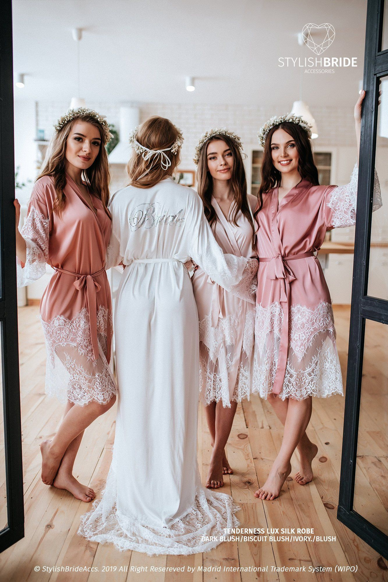 Personalized Crystal on the Back Blush Bridesmaid Robes, Customized Bridesmaid Robes, /TENDERNESS/ Embellished Bride on back