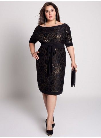"Black Lace Dress: romantic black sheer lace with a shimmering metallic gold lining; very 60s ""Mad Men"" style!"