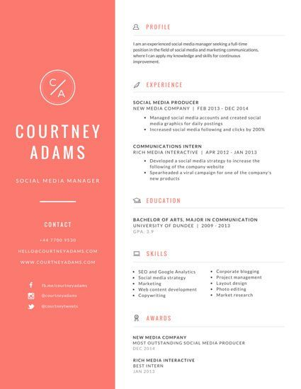 Social Media Resume Sample Résumé  Untitled Design  Resume  Pinterest  Template