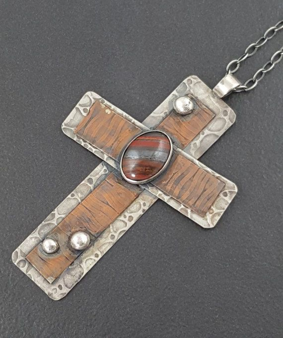 ON SALELarge Cross Necklace mixed metal tiger iron
