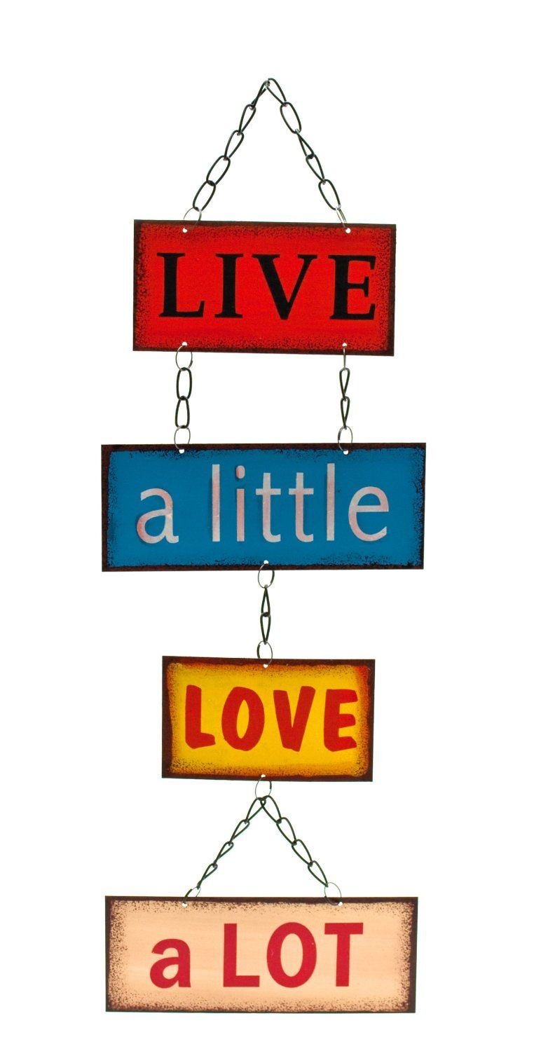Retro Vintage Live A Little Love Lot Hanging Metal Wall Plaque Sign Co Uk Kitchen Home
