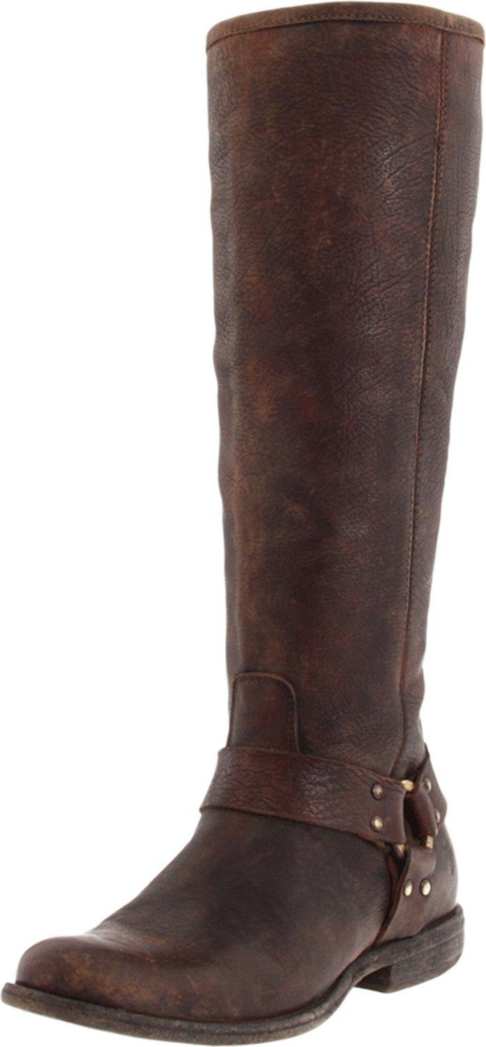 FRYE Women's Phillip Harness Tall Boot, Dark Brown Stone Antique, 7.5 M US.