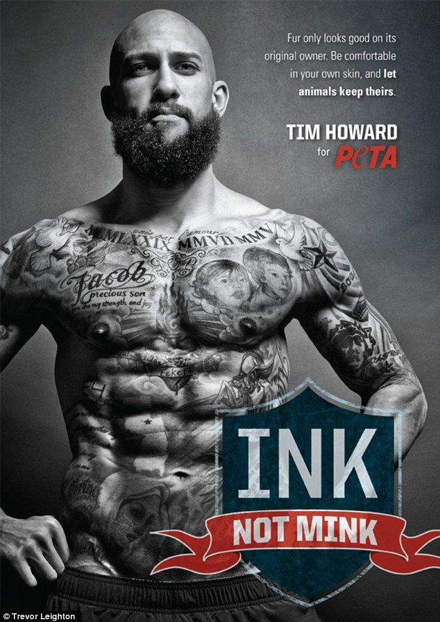 a94102fe6 Ink not mink  Everton and USA keeper Tim Howard shows off his impressive  body of tattoos