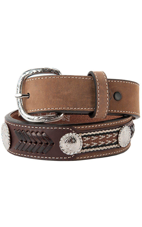 57aa5836335 Nocona Children s Bay Brown Leather Western Applique Belt ...