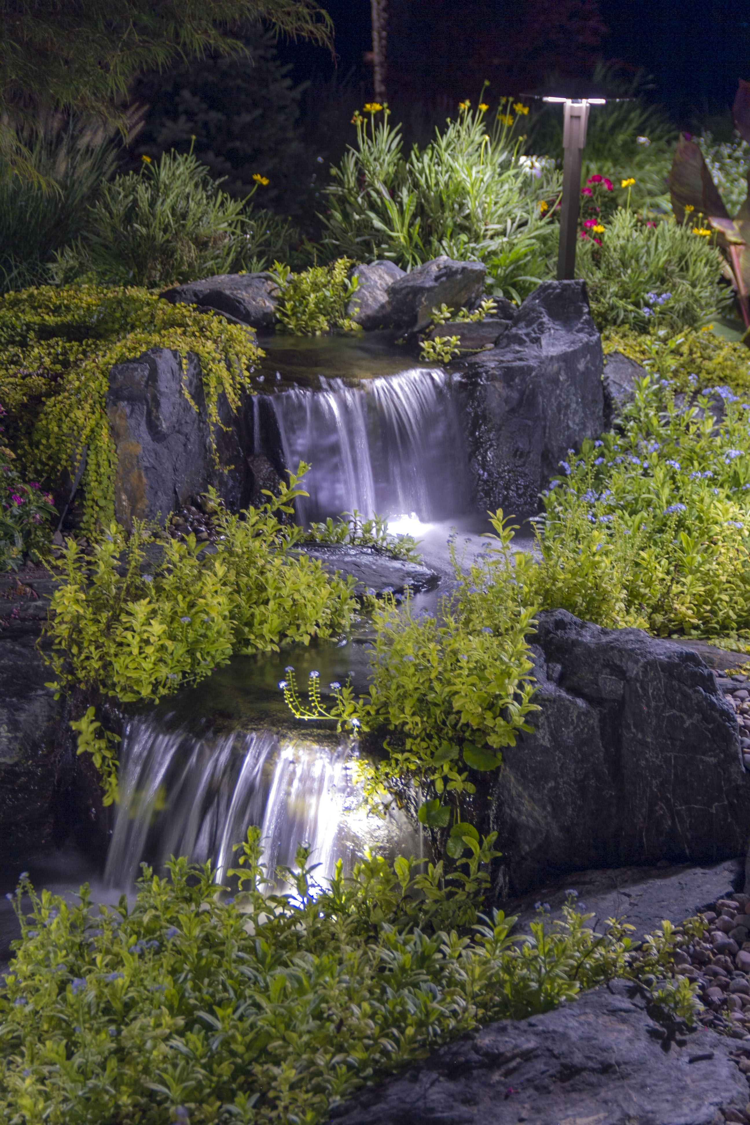 Waterfall Lighting | Waterfalls backyard, Ponds backyard ... on Small Backyard Pond With Waterfall id=49164