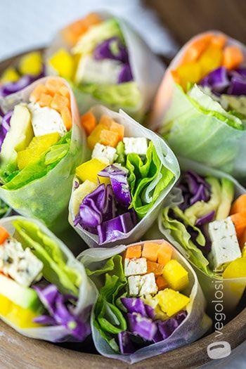 Involtini di carta di riso senza cottura con verdure e salsa allo ...