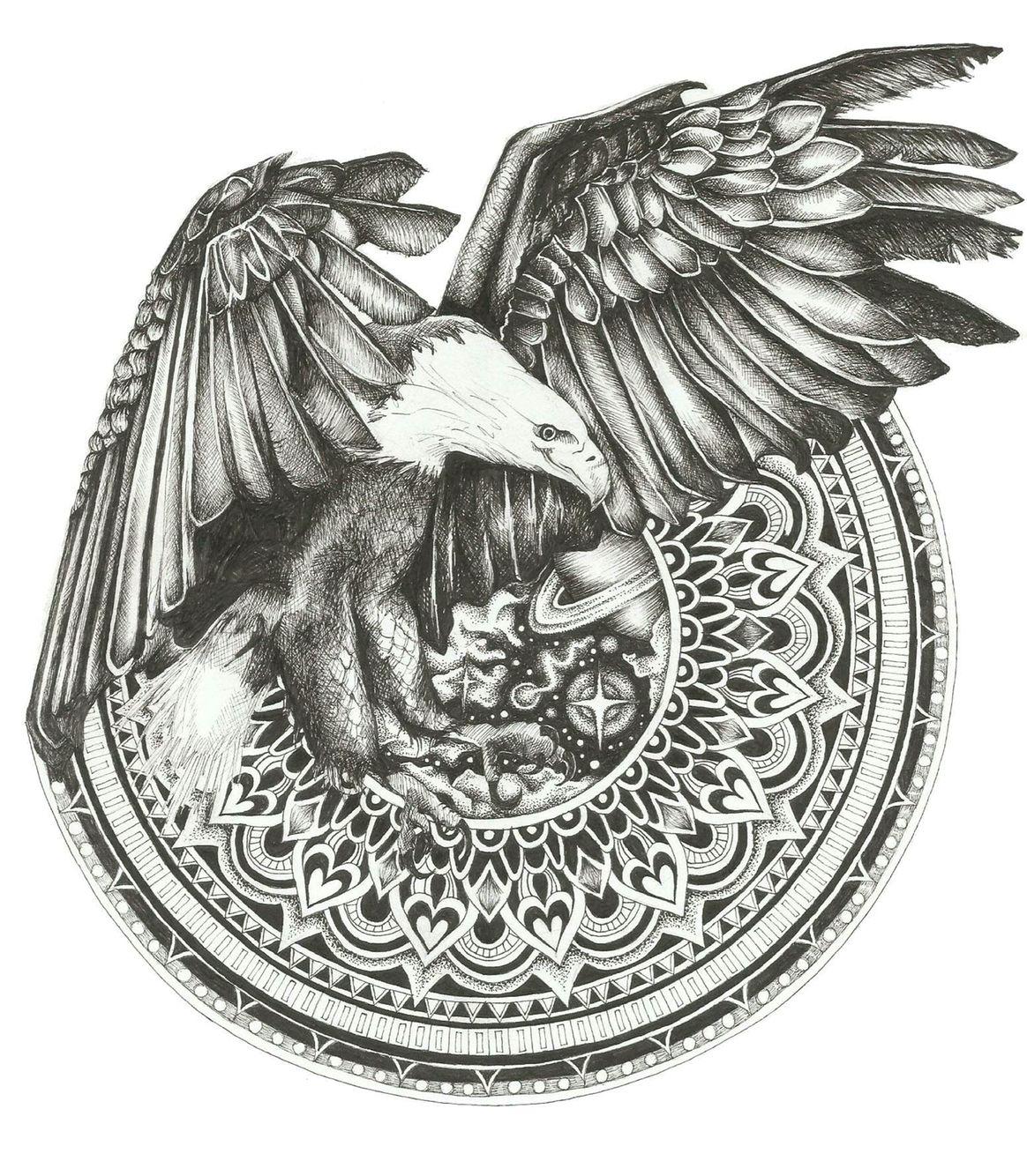 Eagle Space Mandala Series Georgia Pikari Illustration Ink