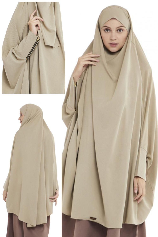 Queenza Zayidan French Khimar Hijab Jumbo Zivana Hijau Soft Niqab Bandana Model