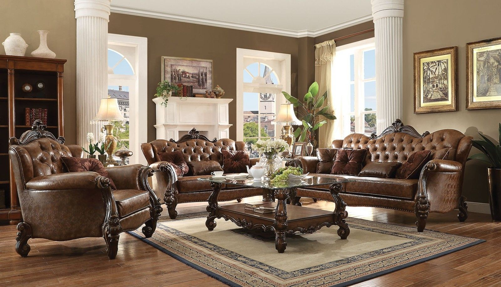 Best Acme Versailles 2 Piece Living Room Set In L Brown Pu 400 x 300