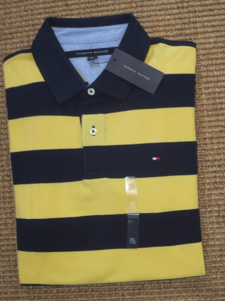 b453cf09 TOMMY HILFIGER MEN'S POLO SHIRT SIZE XL X LARGE NAVY BLUE YELLOW STRIPED # TommyHilfiger #PoloRugby