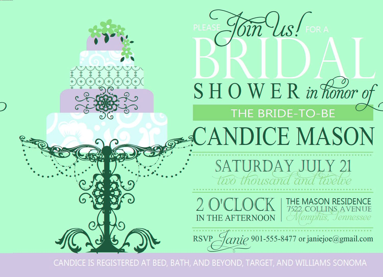 bridal shower invitation custom printable digital wedding shower invite