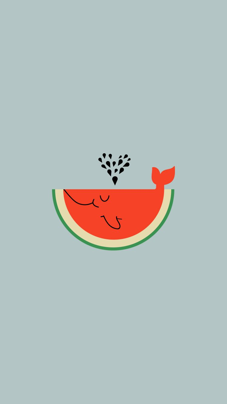 Watermelon Whale Wallpaper Size 750x1334 (best for iphone