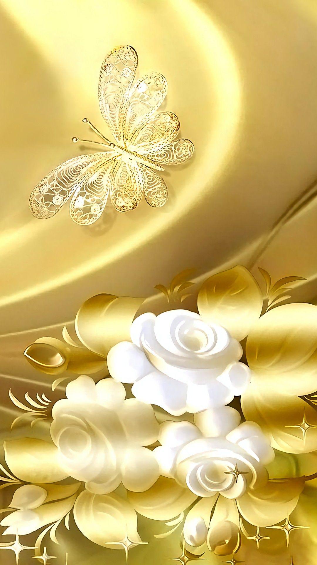 Golden with Butterfly wallpaper | Butterfly wallpaper ...