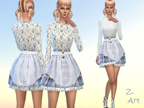 Blue Romance dress by Zuckerschnute20 at TSR via Sims 4 Updates