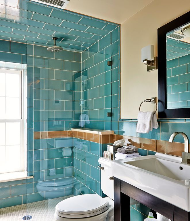 Contemporary Full Bathroom With Giorbello Subway 6 X 3 Tile In Dark Teal Frameless Showerdoor Rai Bathroom Interior Design Turquoise Bathroom Teal Bathroom