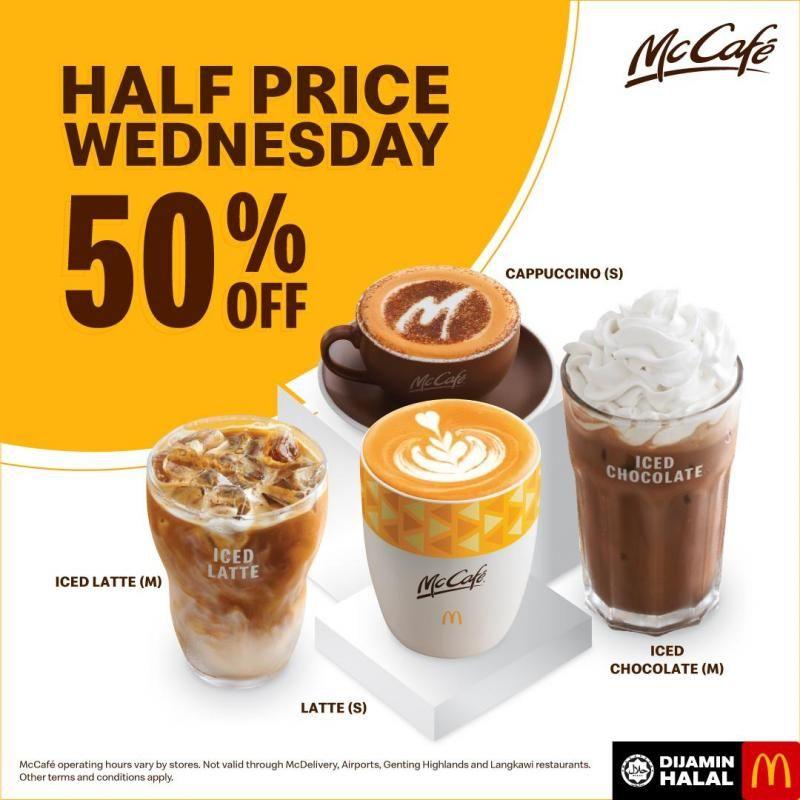 Mcdonald S Mccafe Half Price Wednesday 50 Off Promotion Every Wednesday Desserts Menu Food Design Mcdonalds
