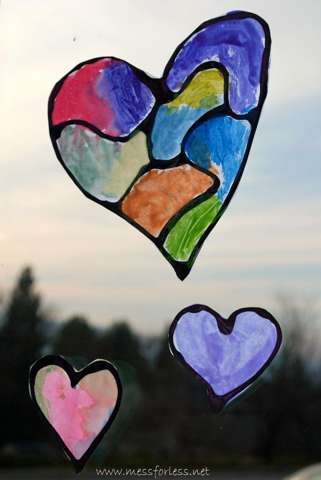 Valentine S Day Craft Hearts With Black Glue