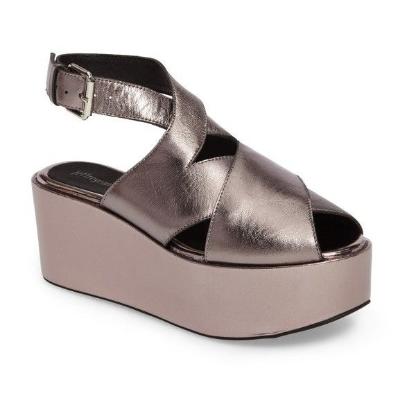 317f57303c7db Women s Jeffrey Campbell Larkport Slingback Platform Sandal (€98) ❤ liked  on Polyvore featuring shoes