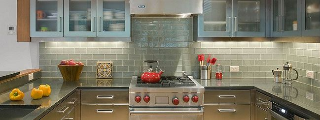 Perfect Gray Cabinet Granite Countertop Glass Backsplash Tile
