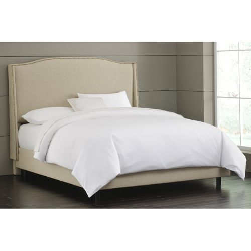 King Upholstered Bed In Sandstone With Egyptian Cotton