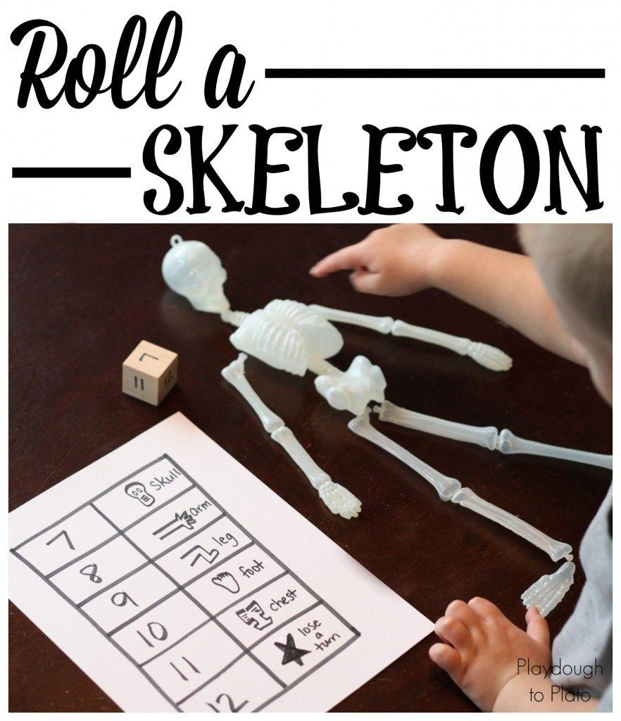 Halloween Game Roll A Skeleton Playdough To Plato Halloween Kindergarten Activities Halloween Preschool Math Games For Kids [ 1024 x 882 Pixel ]