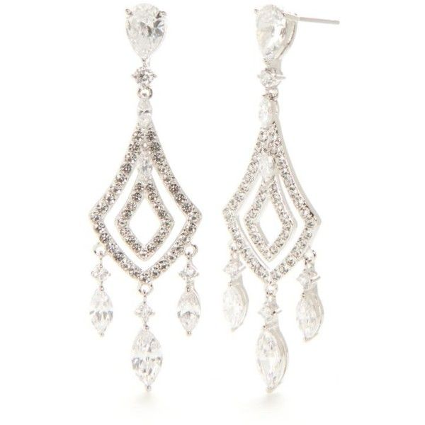 c55aae929 Nadri Silver-Tone Kite Shaped Chandelier Earring ($100) ❤ liked on Polyvore  featuring jewelry, earrings, silver, chandelier earrings, nadri, chandelier  ...