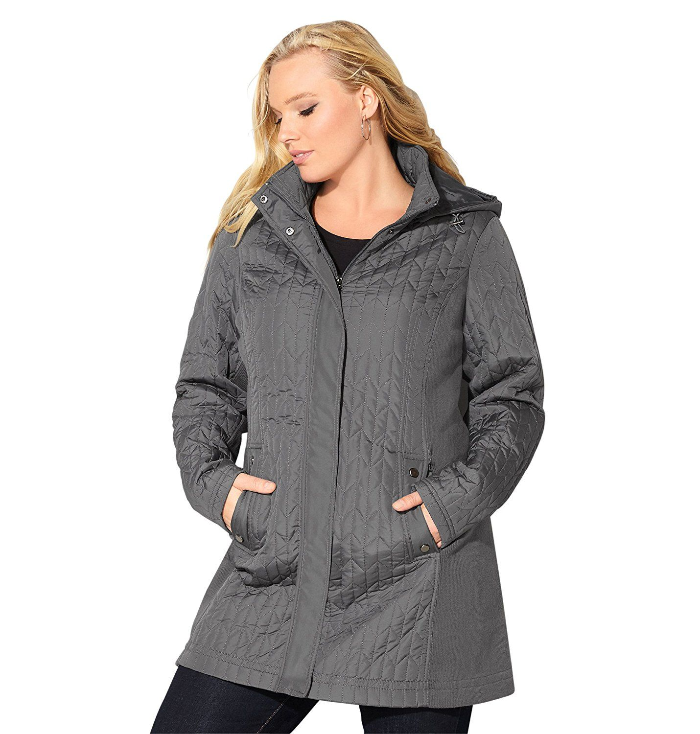 Avenue Women's Herringbone Quilted Jacket with Knit Sides * See ... : quilted jacket plus size - Adamdwight.com