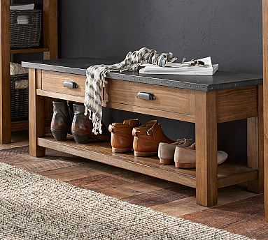 channing wood u0026 metal entryway bench with shelf russett finish