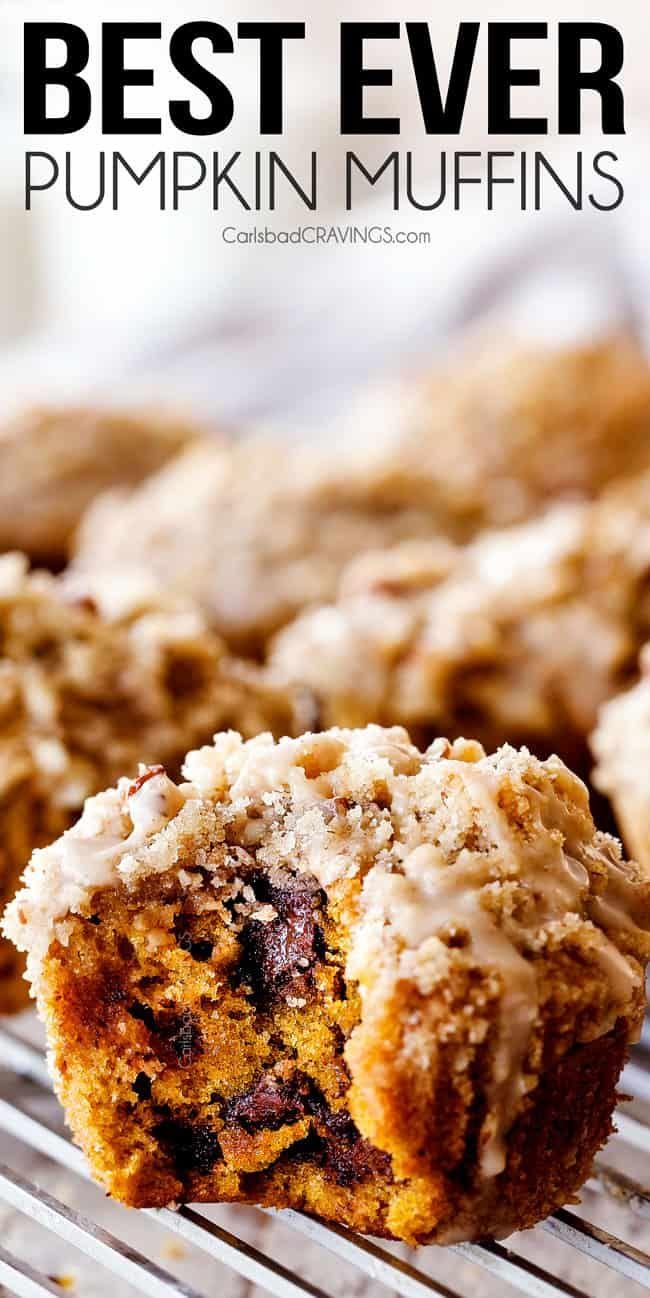 up close of a chocolate chip pumpkin muffin #pumpkinmuffins