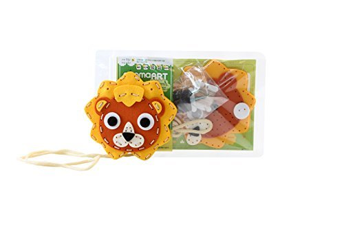 ggomaART Sewing Kit for Kids DIY Art Craft Hand Stitch Play Set Has Safety Needle Thread Harmless Felt Cloth Button Instruction for Beginner Young and Little Girl Boy Lion